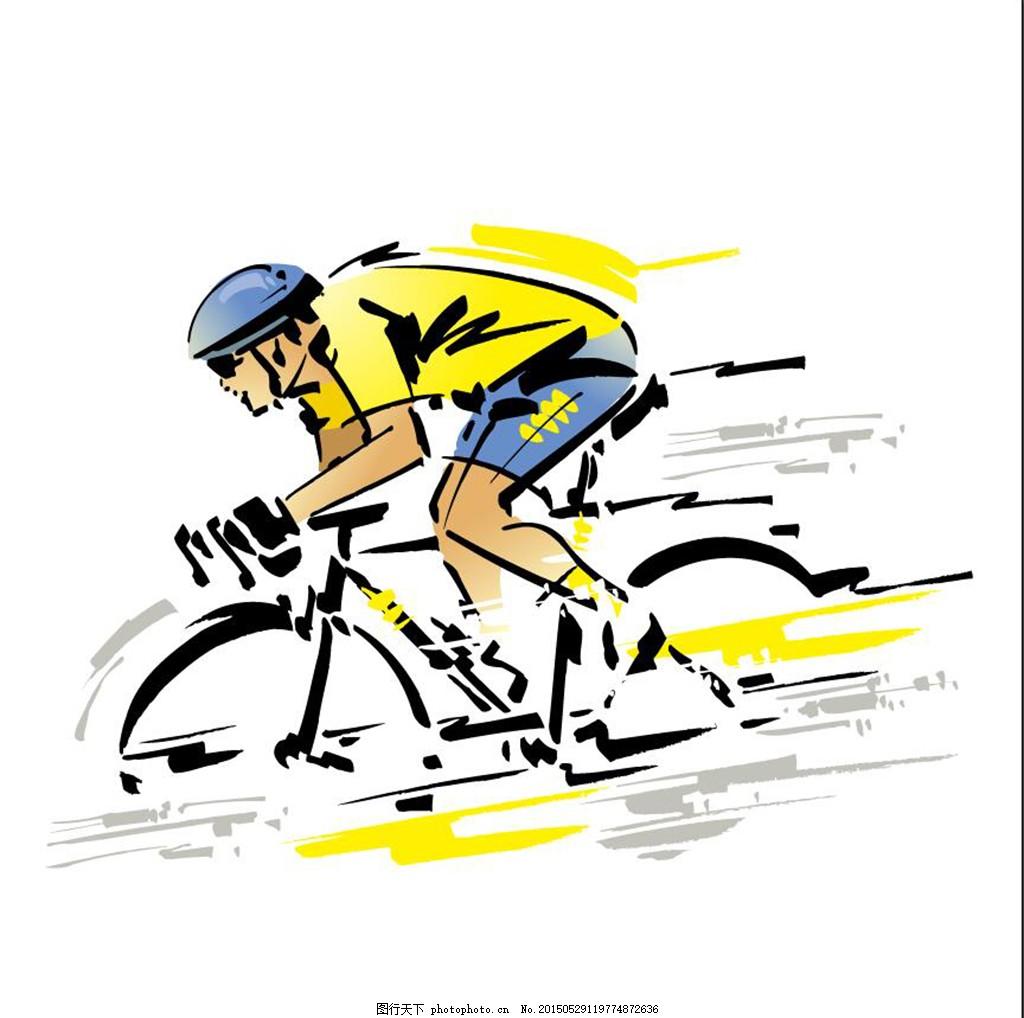 骑自行车 手绘骑自行车的人免费下载 人物 运动 美太 白色