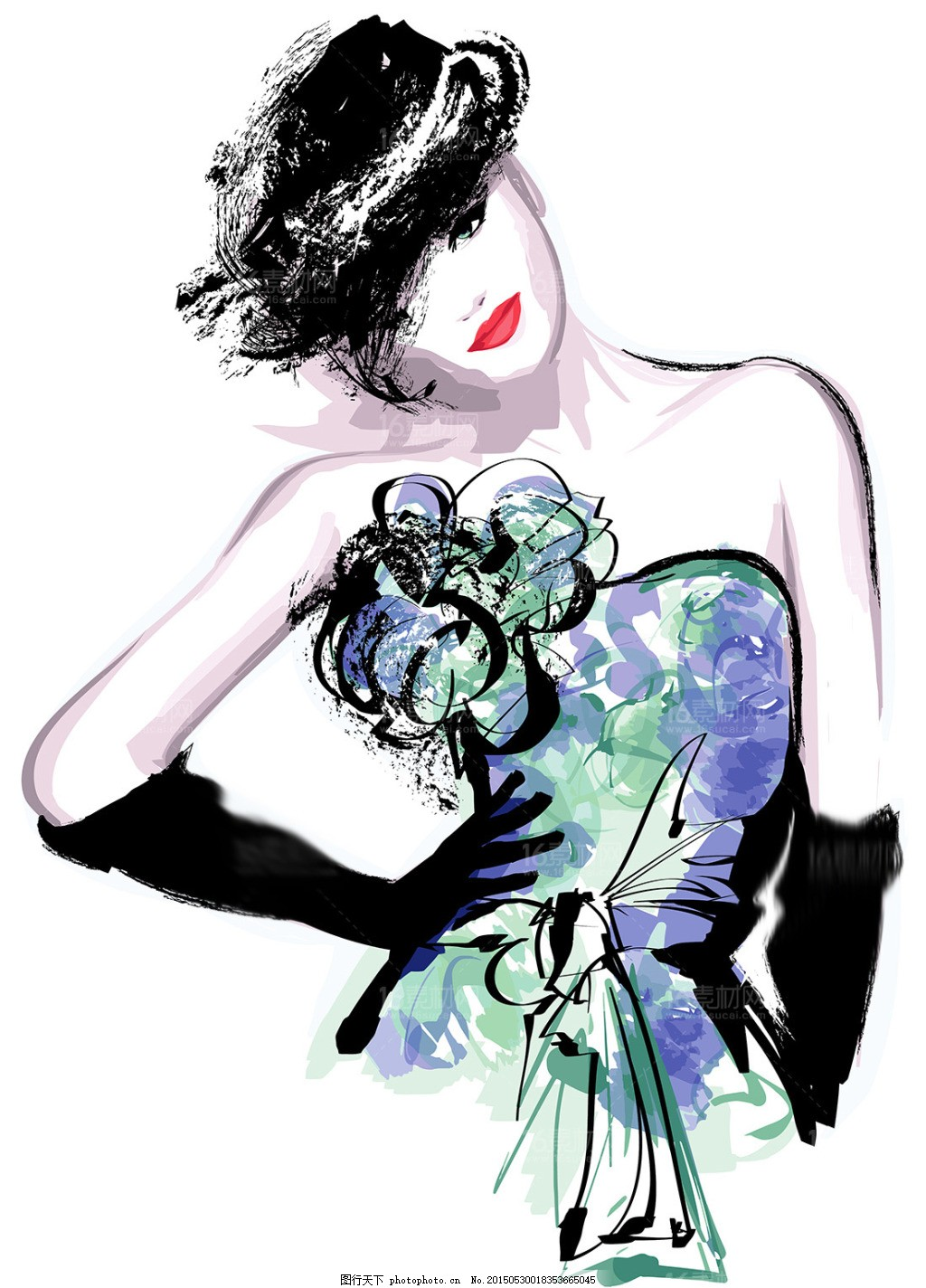 时尚手绘美女设计矢量素材 人物速写 肖像画 卡通美女 漫画矢量
