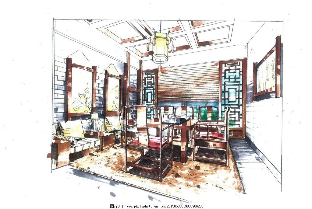 茶馆包间手绘图片