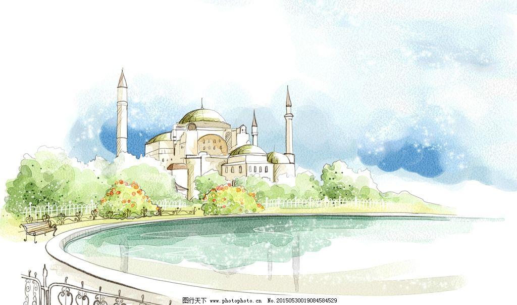 手绘城市 水彩 现代 简约