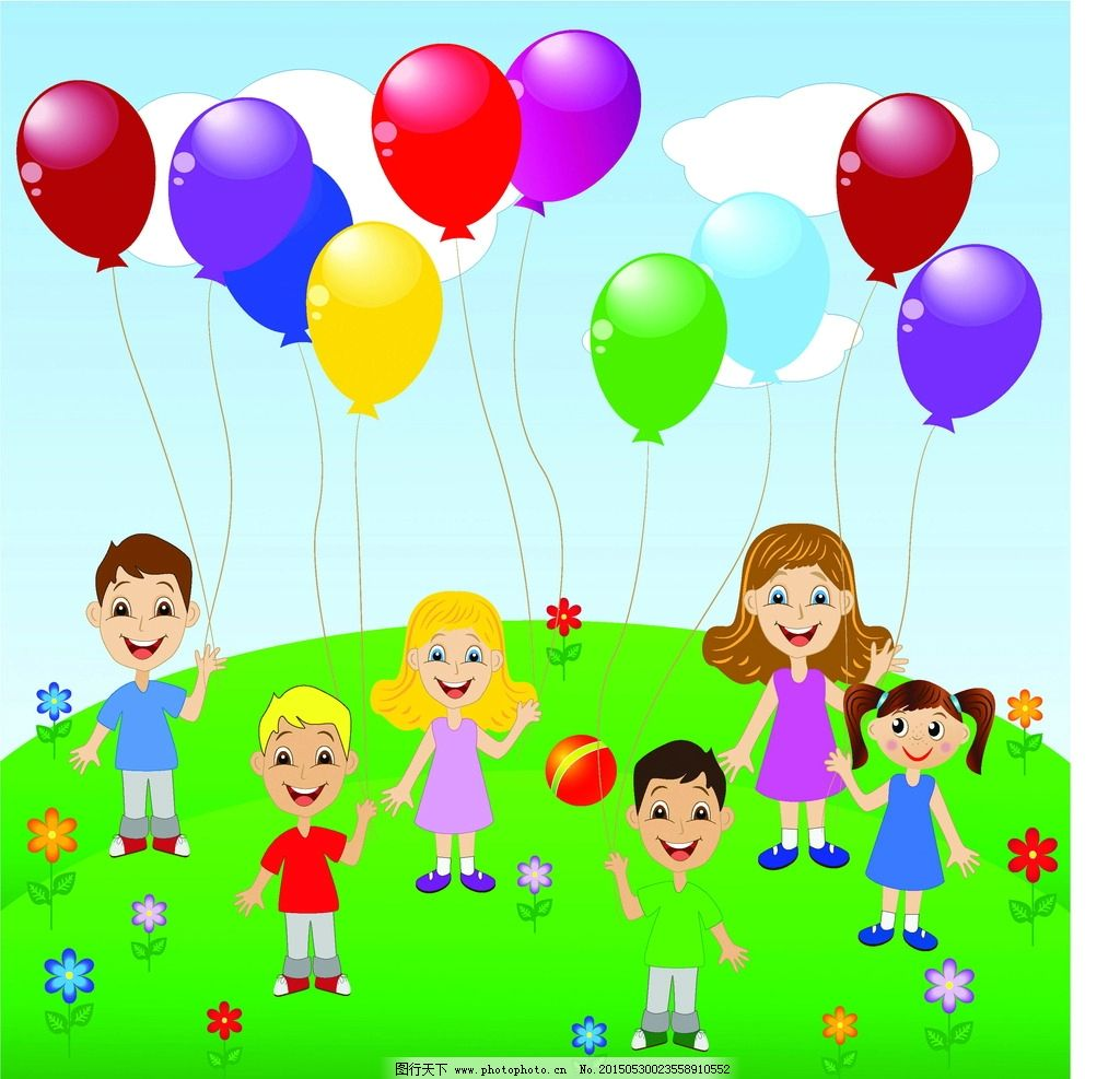 卡通儿童 小学生 儿童 手绘 女孩 小男孩 彩色气球 插画 快乐儿童