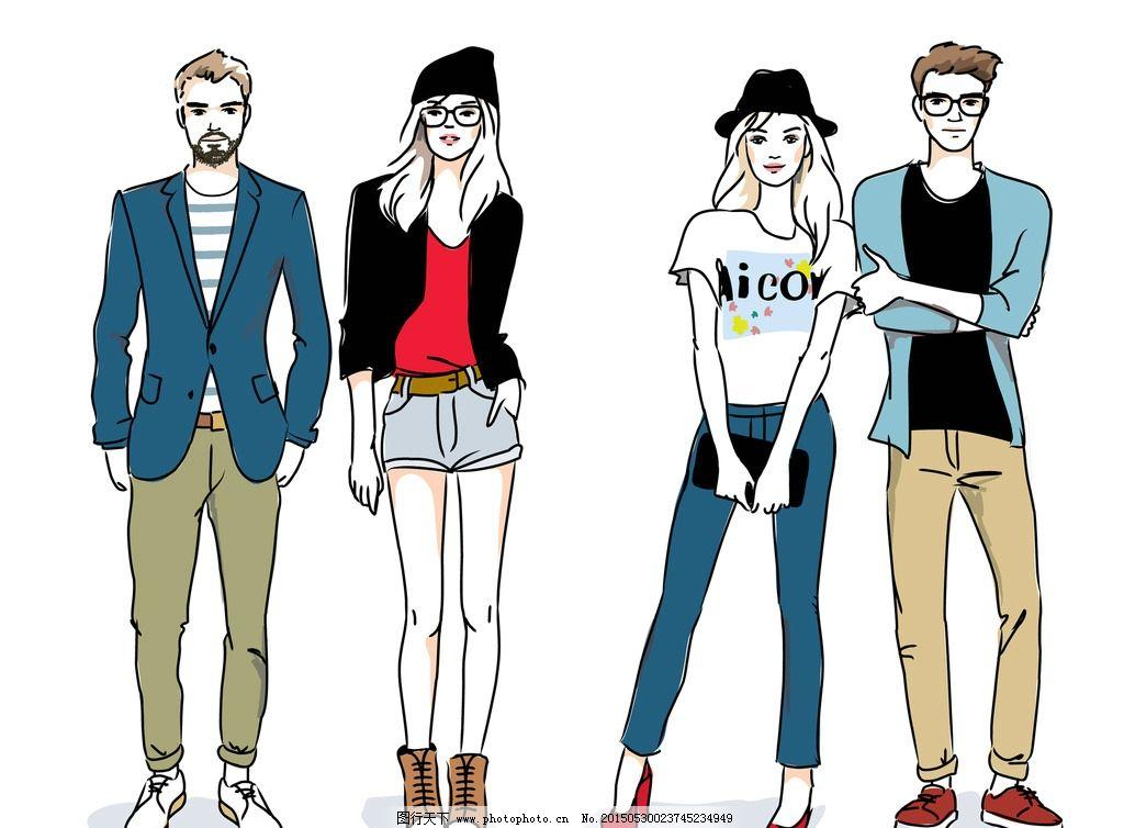 时尚少女 手绘美女 帅哥 型男 小伙 小女孩 女人 女性素描 美女 卡通