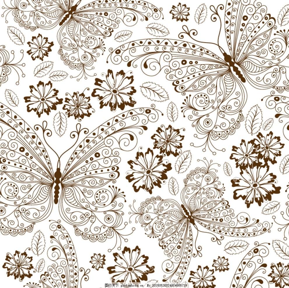 蝴蝶 昆虫 手绘 花卉 花朵 鲜花 花纹 线描 树叶 叶子 植物 动物 无缝