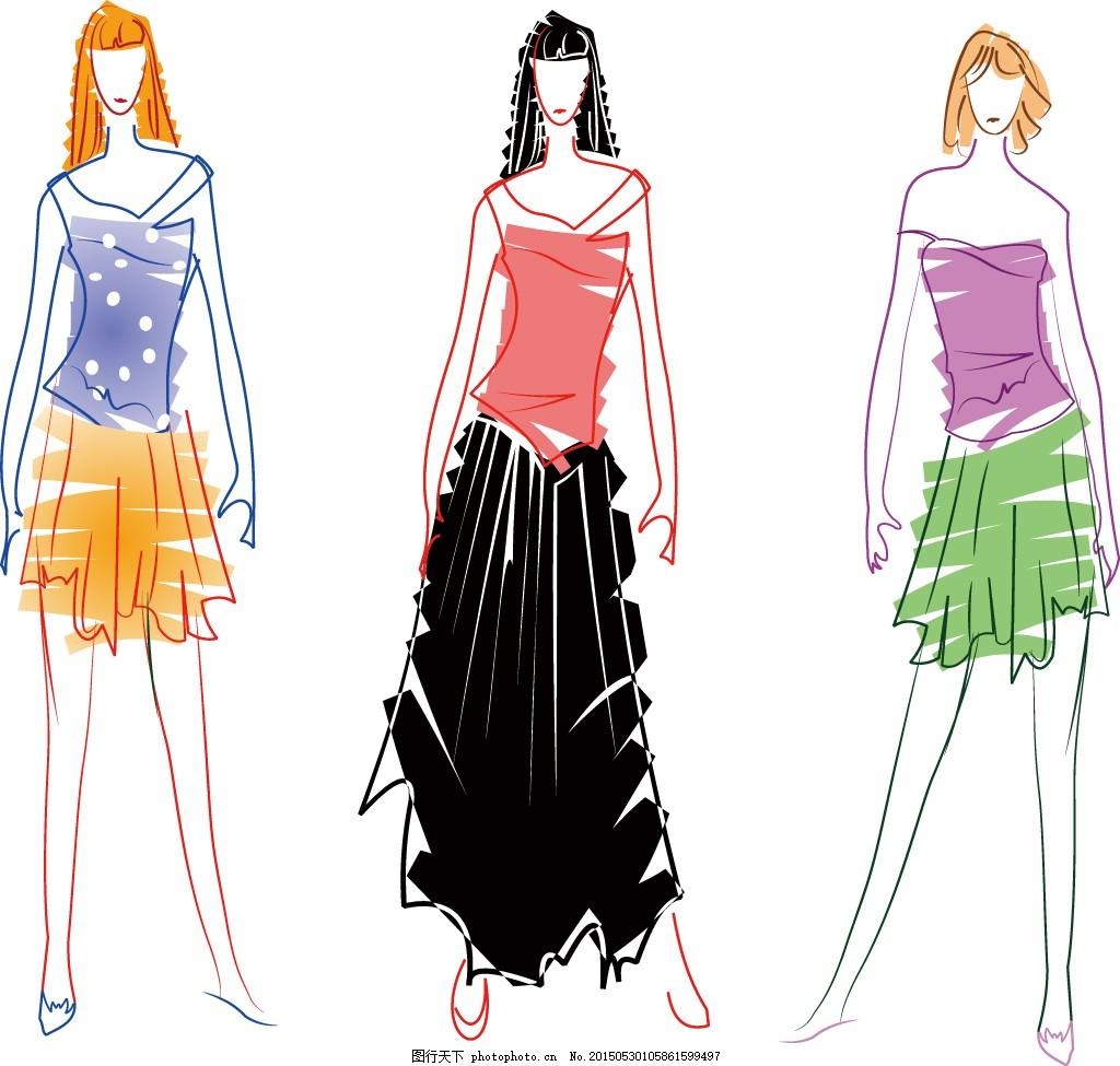 手绘服装设计 美女 模特 美女图片 女人图片 女性图片 人物素材