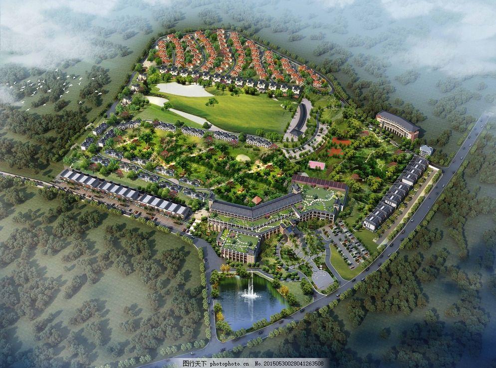 酒店效果图 中式酒店效果 鸟瞰 全景 景观设计 灰色