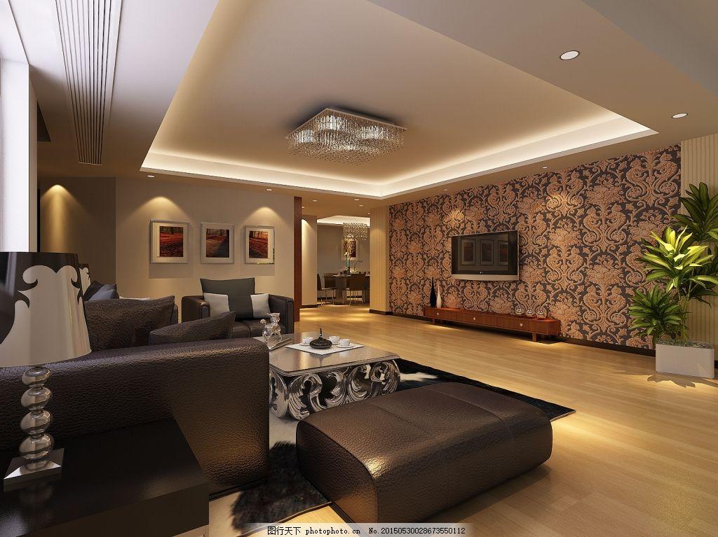 灰色风格客厅装修效果图 简约             3d max 黑色 3d