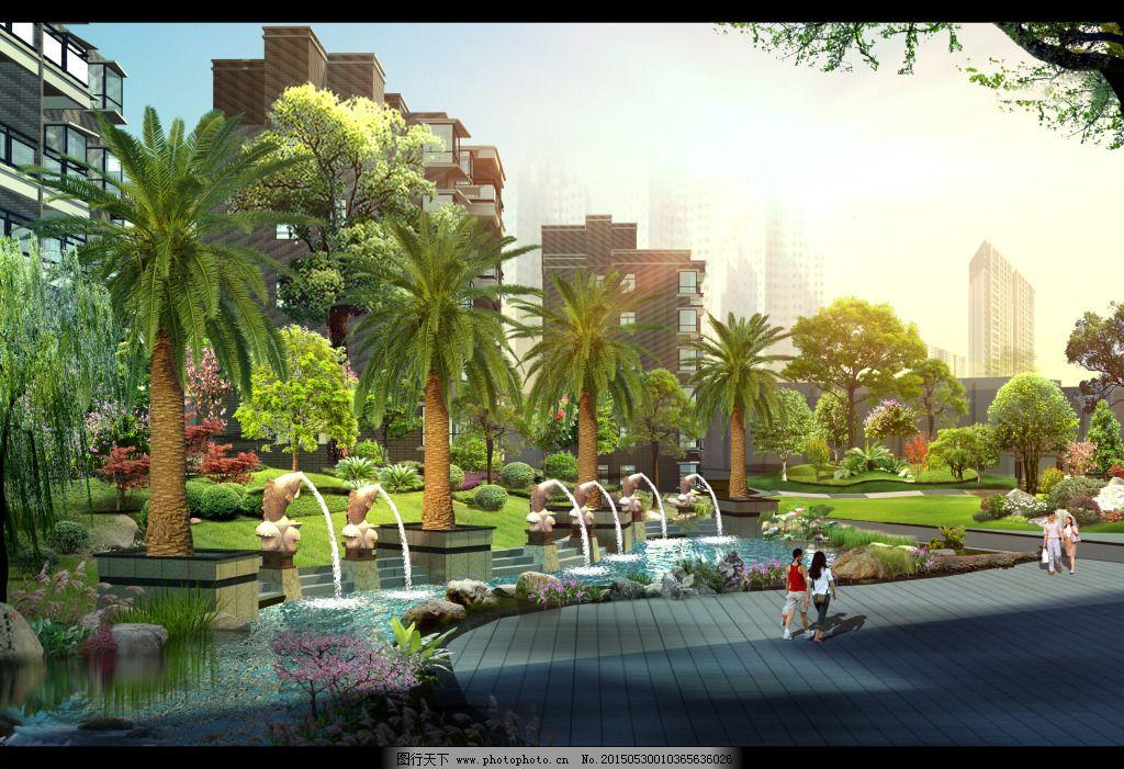 公园水池手绘平面图