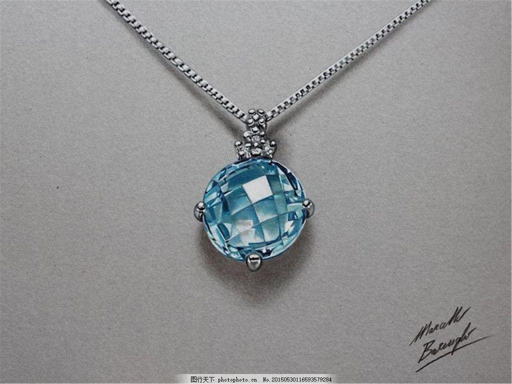 美丽钻石图片设计 手绘 珠宝 项链 时尚 创意 潮流 新颖 灰色