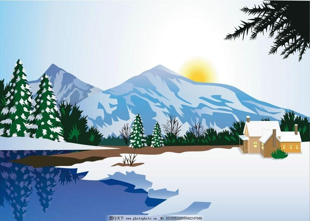 卡通雪景 冬天 高山 风景 动漫动画