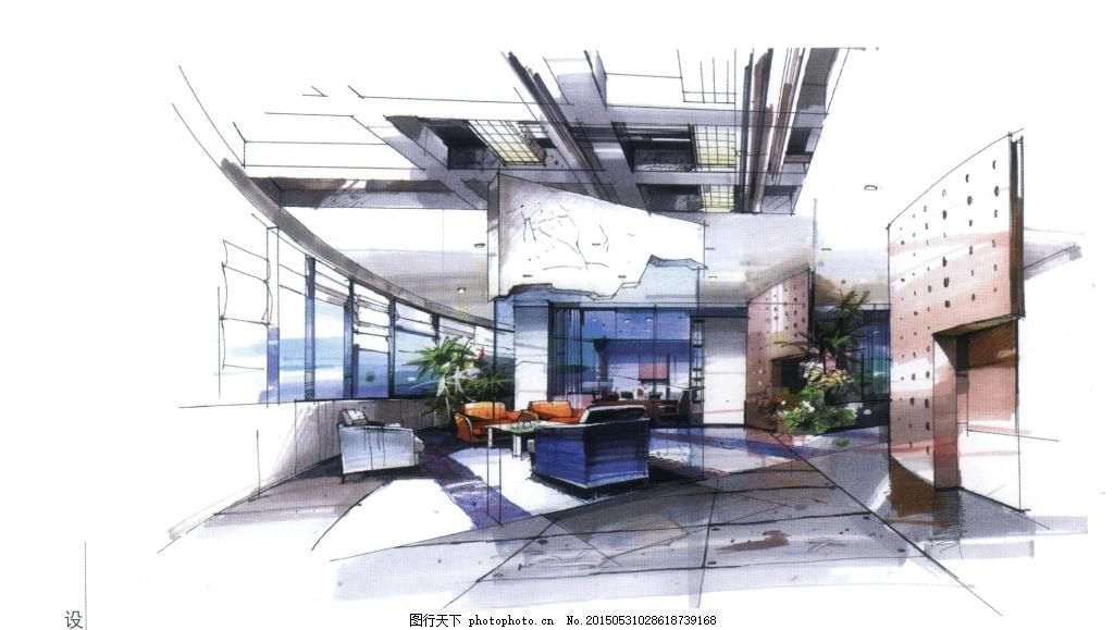 办公空间手绘效果图 室内 办公室 马克笔 彩铅 室内设计 环艺