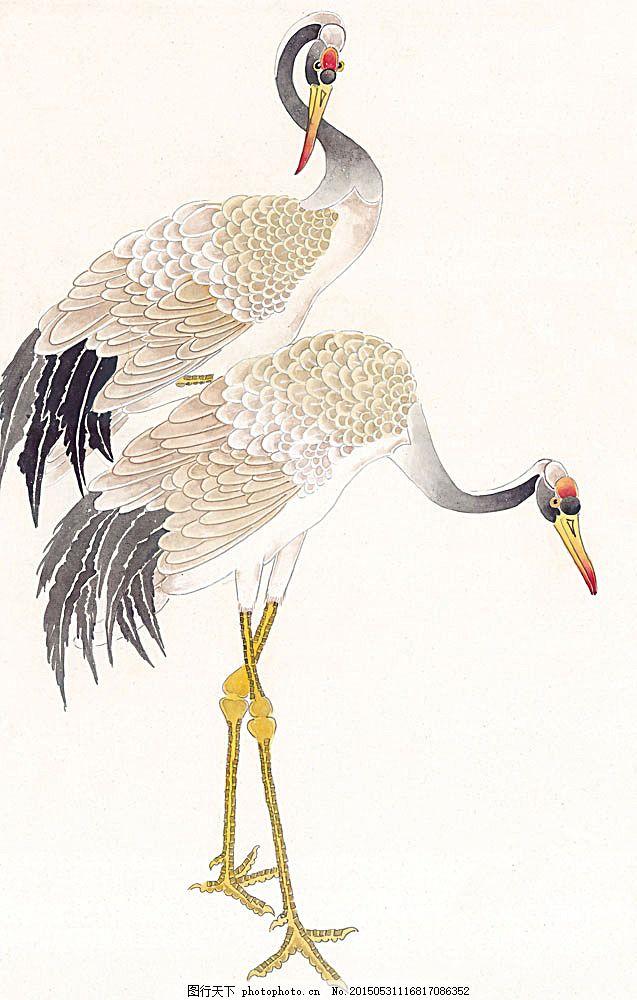 国画 中国画 文化 艺术 水墨画 鸟类 丹顶鹤 书画文字 文化艺术 图片