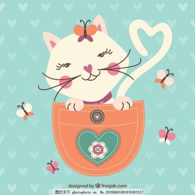 粗略的猫在口袋里 动物 手画 可爱 宠物 图画 插图 可爱的动物