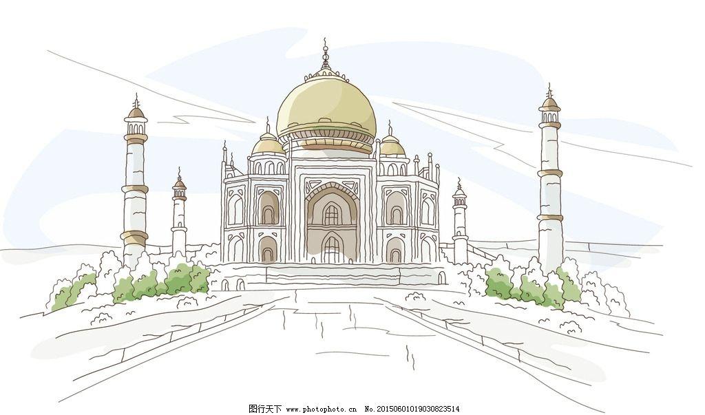 手绘城市 都市 城市 国外建筑师 公路 繁华 卡通 手绘 风景 背景 设计