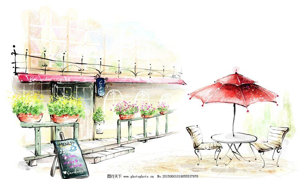 手绘城市 都市 城市 国外建筑师 公路 繁华 卡通 手绘 风景 背景 手绘