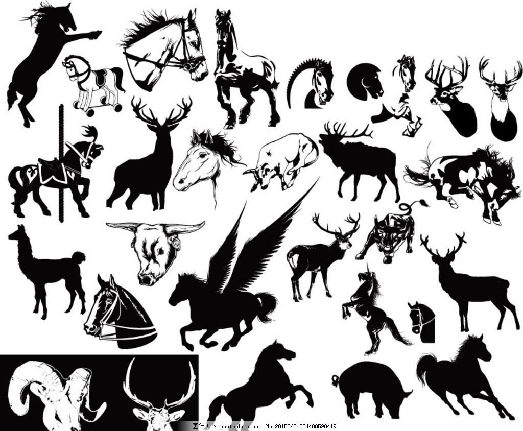 创意野生动物剪影矢量素材