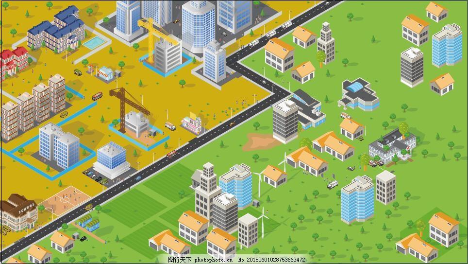 城市 街景 小区 地图 卡通 绿色