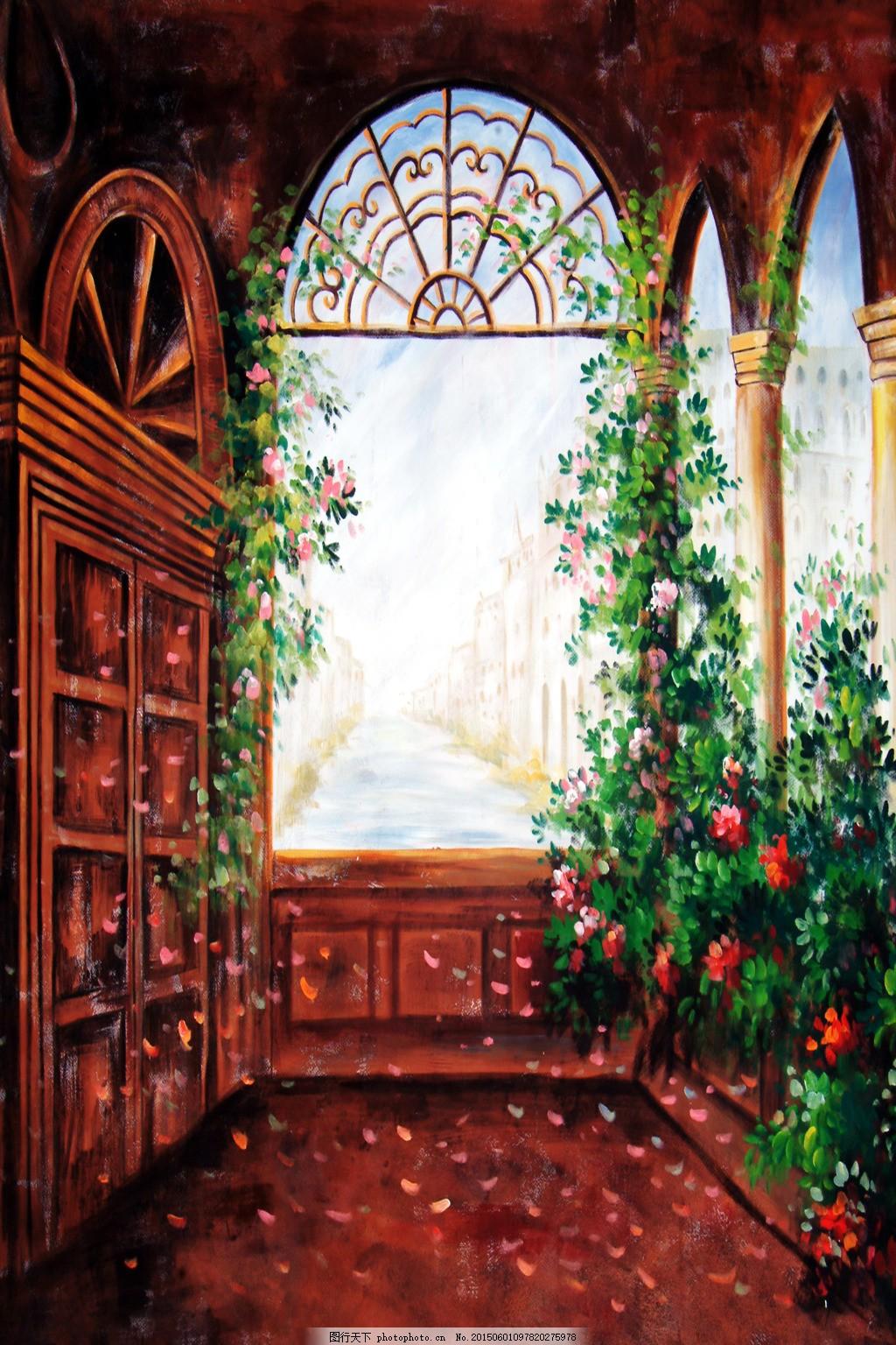 油画窗户风景