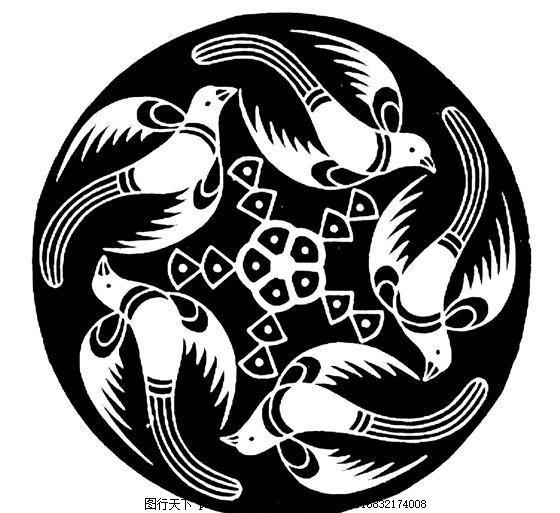 鸟兽纹样 传统图案 设计素材 动物图案 装饰图案 书画美术     白色 j