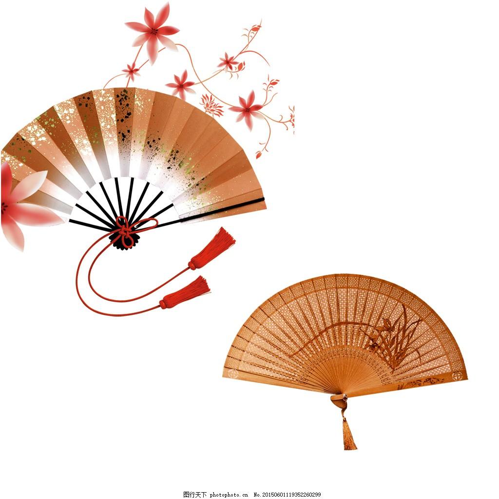 扇子 中国风 梅兰竹菊 白色
