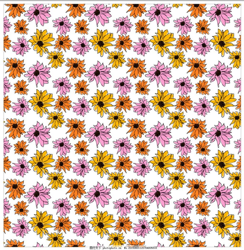 四方连续花卉小雏菊 四方连续 图案 花草 平面 矢量 纹样 ai 白色 ai