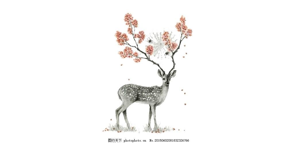 水彩手绘梅花鹿