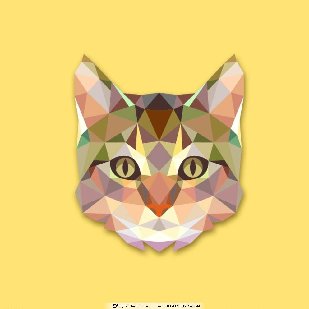 几何动物猫矢量图片