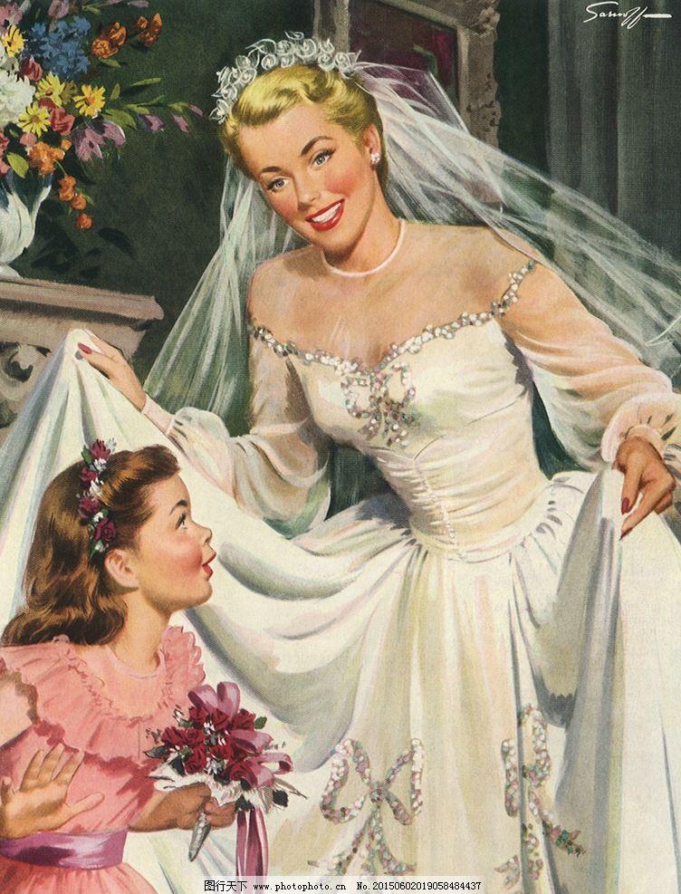 油画美女新娘 婚纱 裙子 装饰画 无框画 欧式油画 唯美 油画艺术
