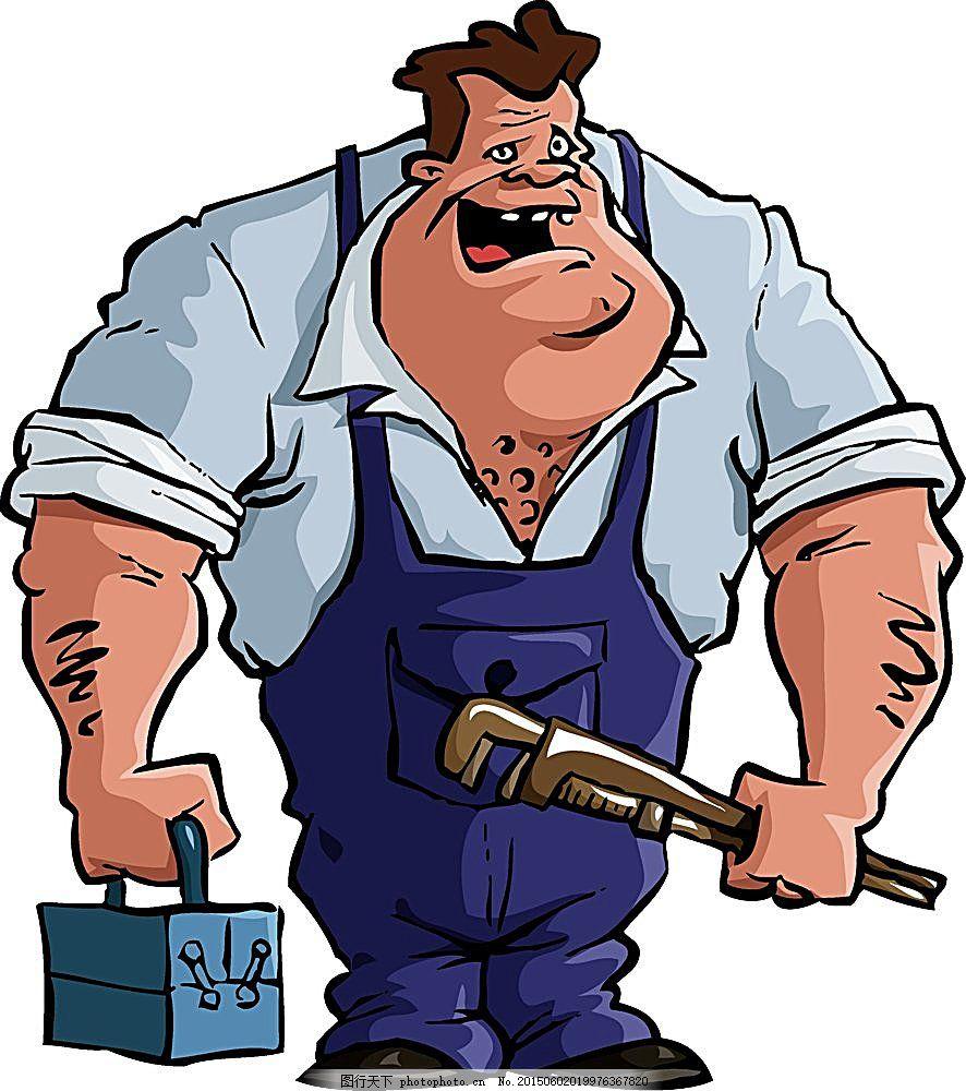 卡通维修工 人物插画 卡通人物 漫画人物 卡通插画 卡通漫画 卡通形象