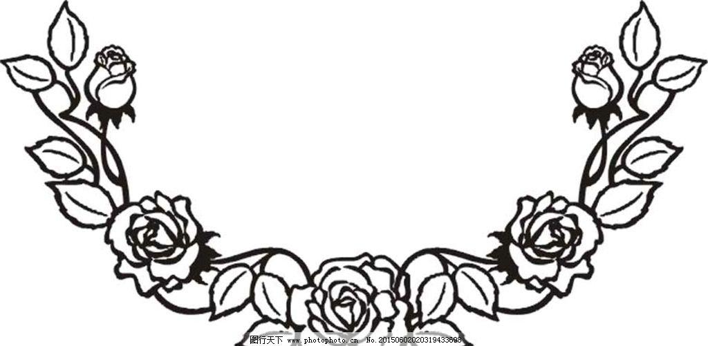 玫瑰花纹边框-玫瑰花边矢量图