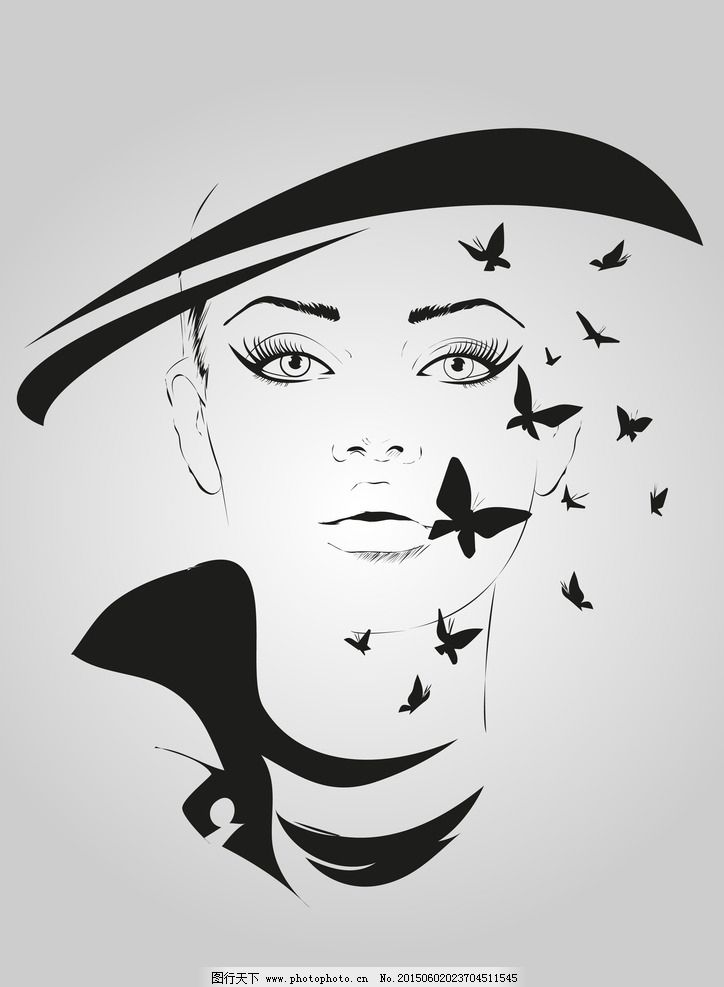时尚美女 手绘少女 女孩 女人 素描 蝴蝶图案 时髦 女性 都市女性