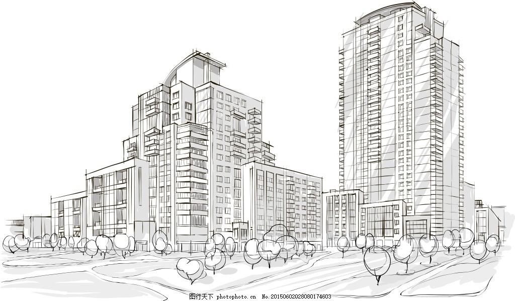 素描城市建筑 手绘 高楼 白色