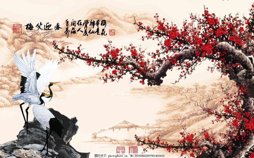 風景畫背景墻 梅花 花鳥畫 山水 仙鶴 白色