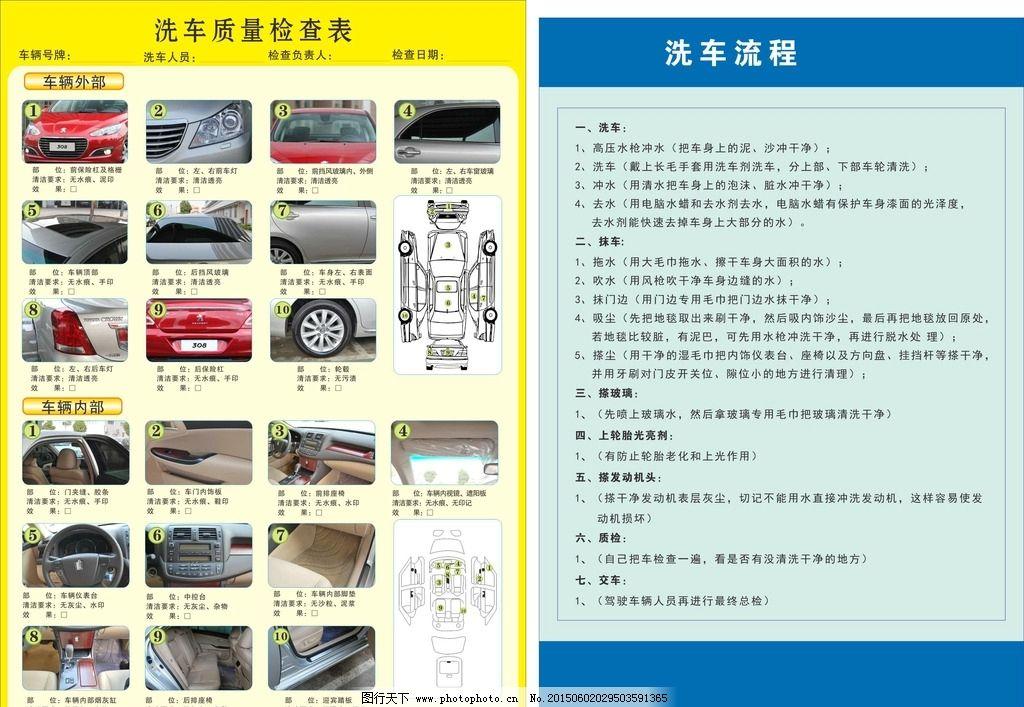 洗车流程展板 质量检查表 洗车质量检测 流程 海报 汽车 精细洗车 cdr