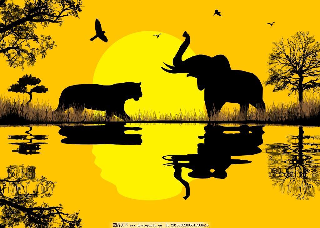 动物剪影 剪影 卡通动物 动物剪影 剪影 大象 非洲大草原 卡通动物
