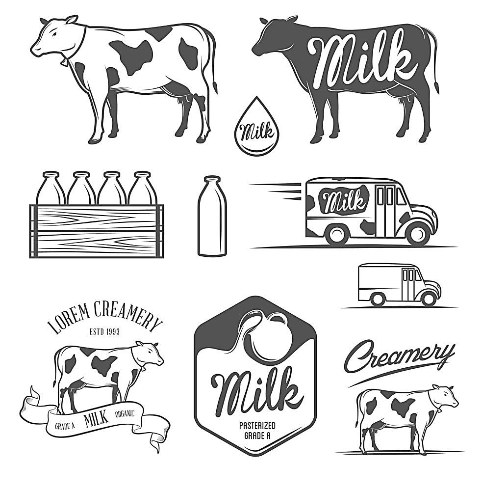顺手绘牛奶图标注设计