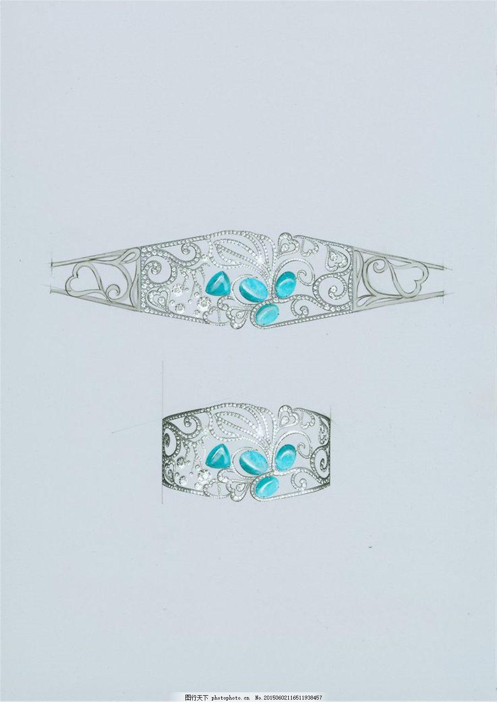 时尚手链图片设计 手绘 珠宝 创意 潮流 新颖 美丽 青色 天蓝色
