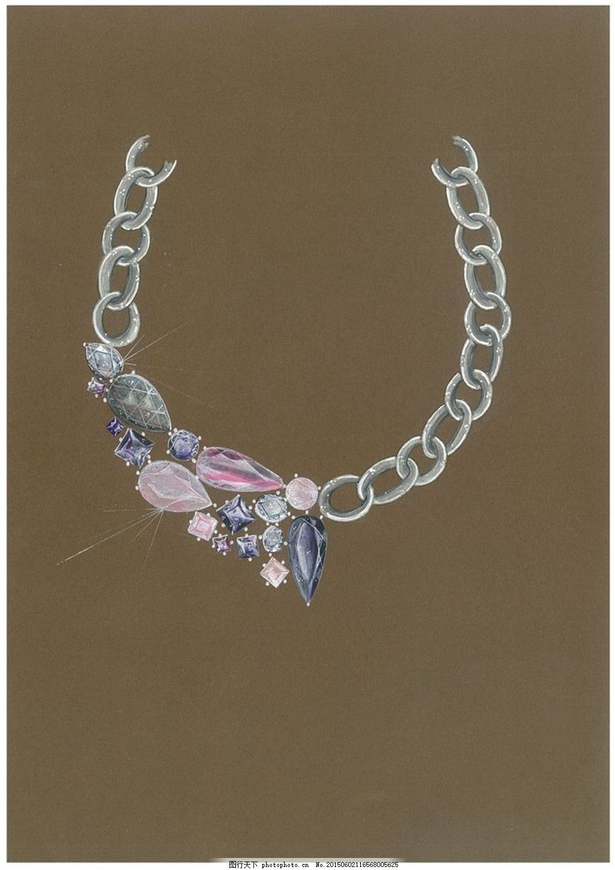 美丽彩色珠宝图片设计 手绘 项链 时尚 创意 潮流 新颖 灰色