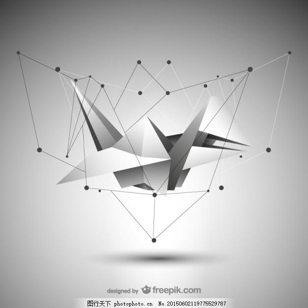 摘要折纸 三角形 多边形 多角形 结构 纸鸟 灰色