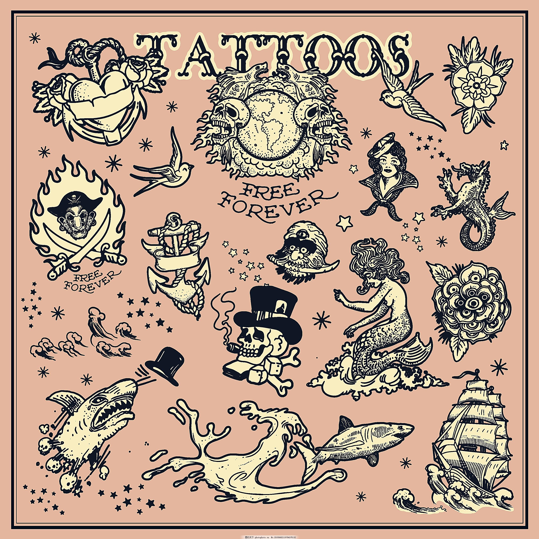 海盗船纹身图案设计