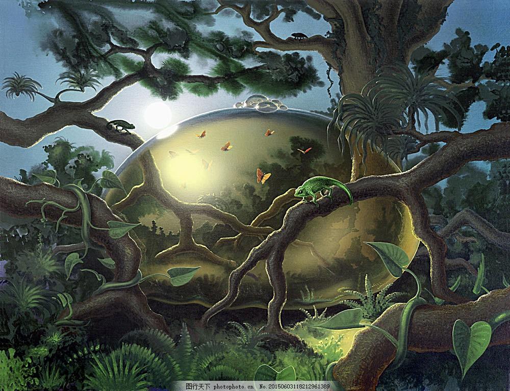 梦幻森林背景 梦幻 森林 植物 动物 背景 艺术 创意图片 其他艺术