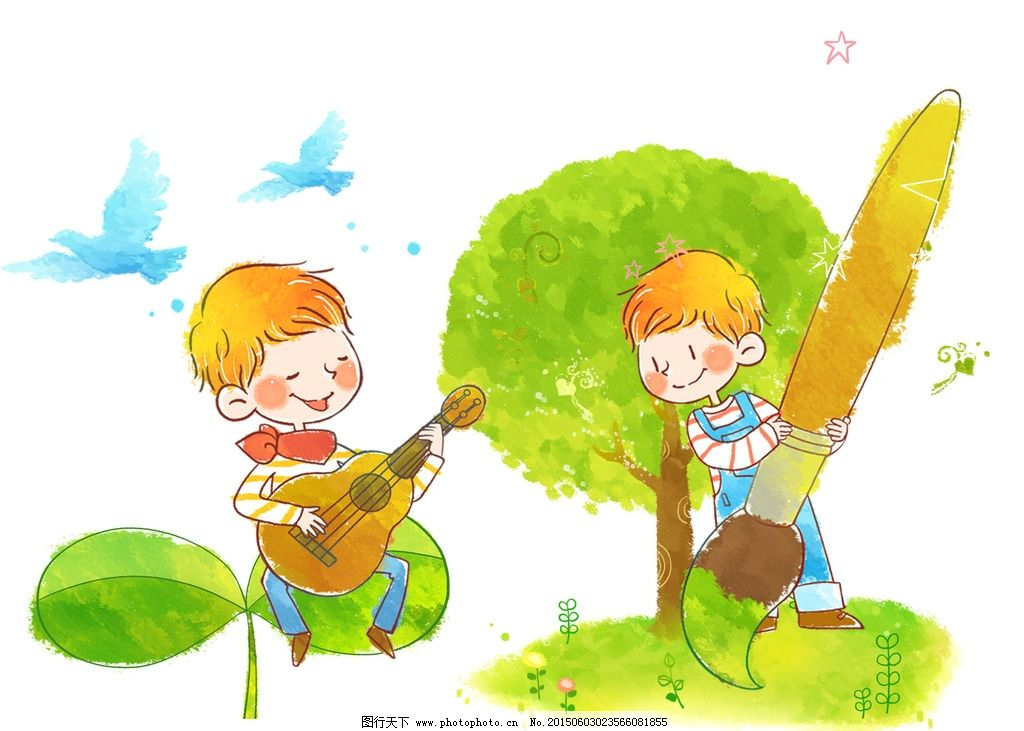 弹吉他 画画 手绘 浪漫 童话 星球 坐 男孩 设计 人物图库 儿童幼儿