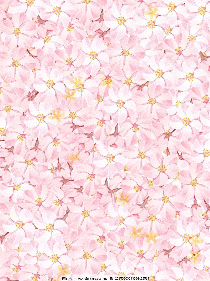 水彩樱花背景墙纸 手绘水彩 花纹 鲜花 底纹边框 背景底纹