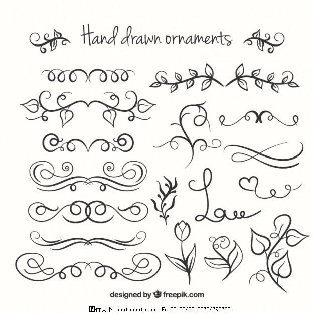 手绘饰品收藏 花 抽象 边界 线 手画 装饰 艺术 铅笔 素描