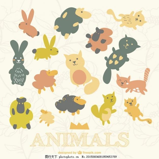 扁形动物的集合 背景 花卉 图案 模板 猫 花卉背景 绵羊 平坦