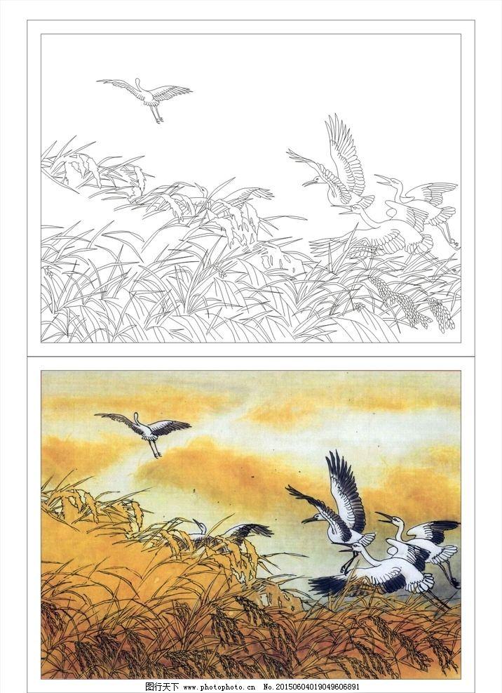 秋天芦苇 芦苇草 芦苇鹤 鹤 芦苇图 白鹤芦苇 矢量艺术玻璃图案 设计