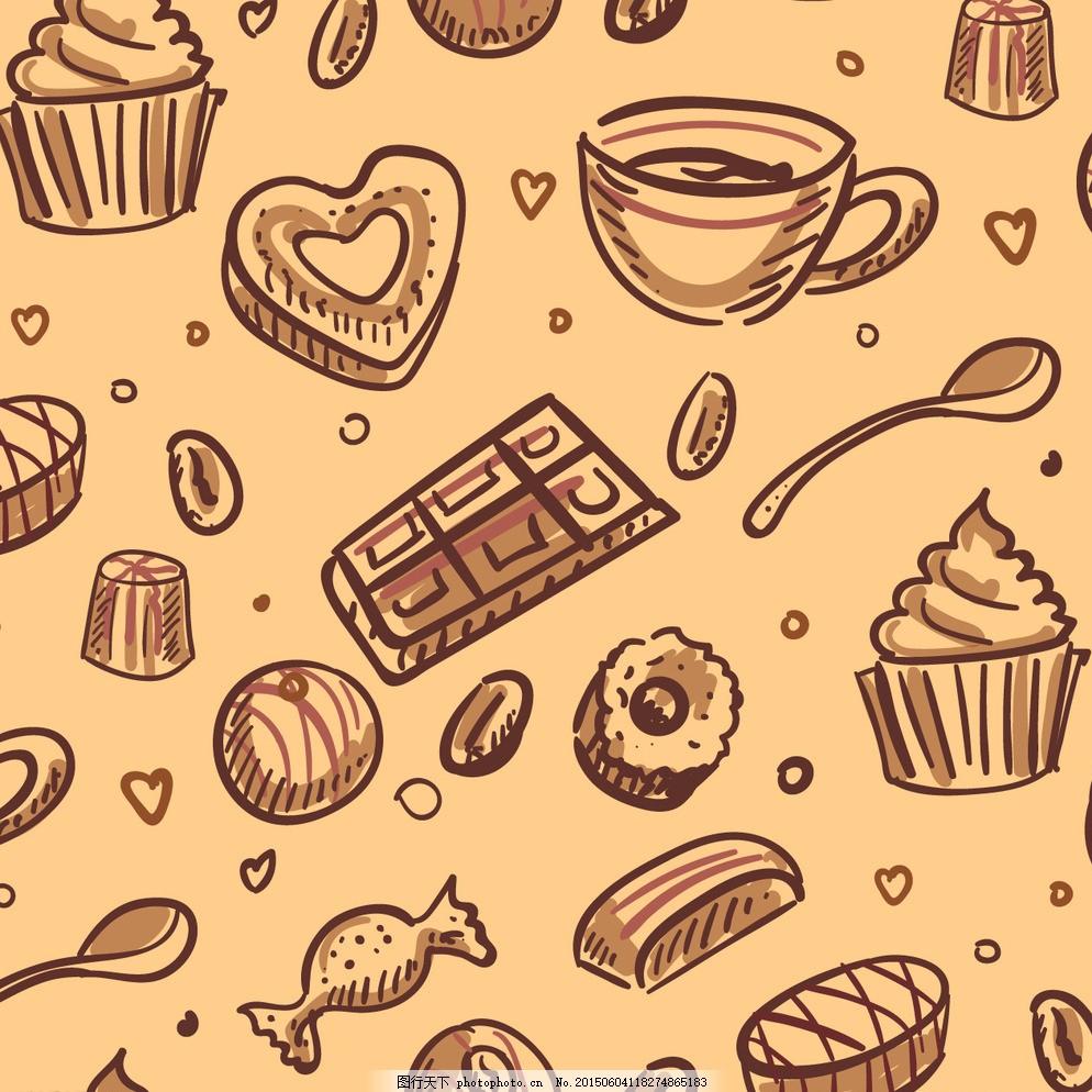 背景 模式 咖啡 手 蛋糕 巧克力 手绘 糖果 茶叶 壁纸 杯 甜 勺 甜品