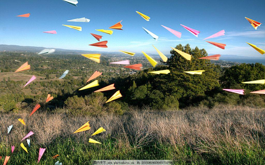 唯美纸飞机飞舞风景高清图片壁纸