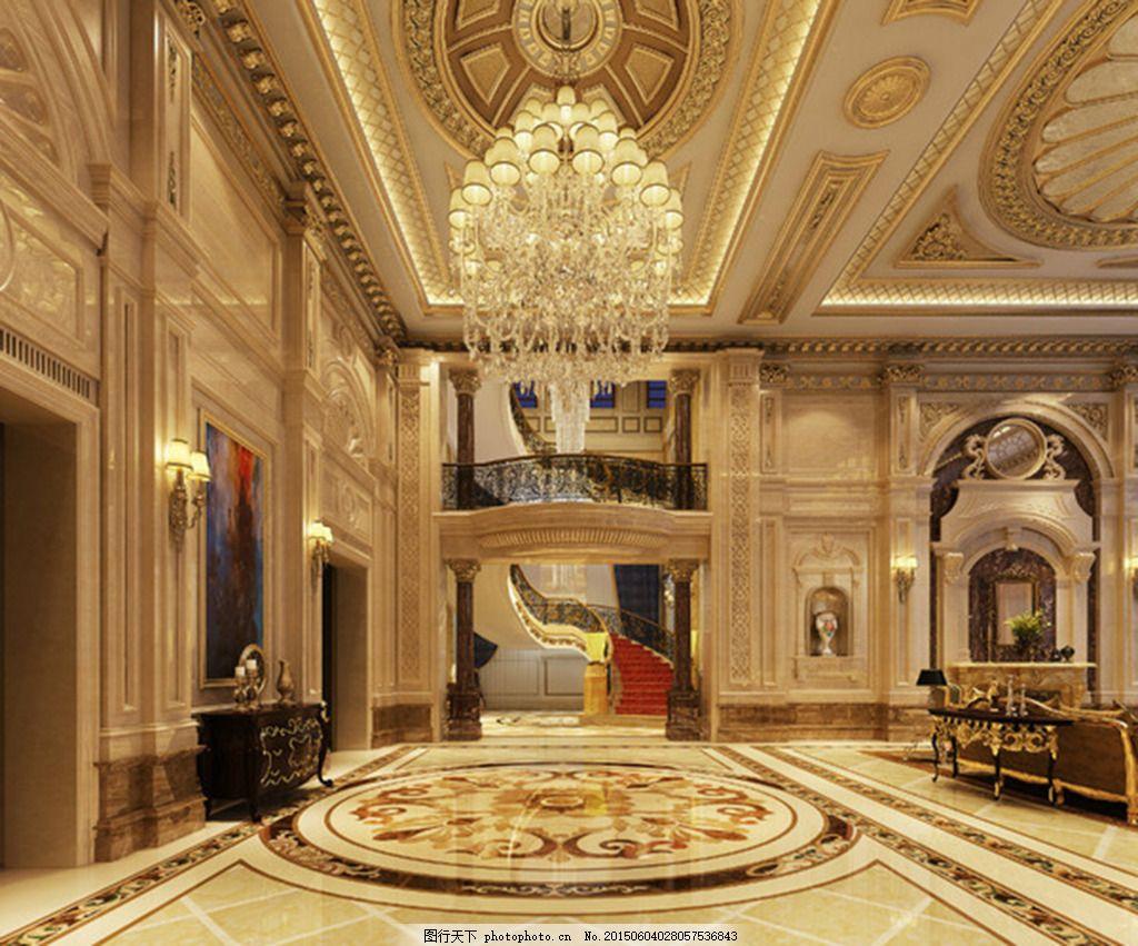 欧式高档酒店大殿装修效果图 欧式装修 工装 棕色