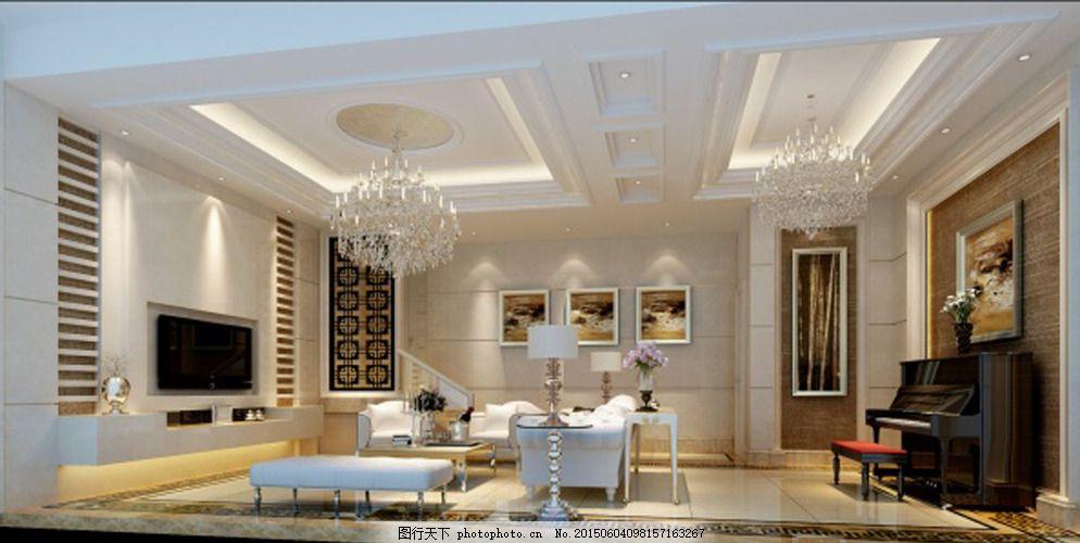 客厅吊顶3d模型 下载 欧式 风格 白色模型 室内模型 灰色