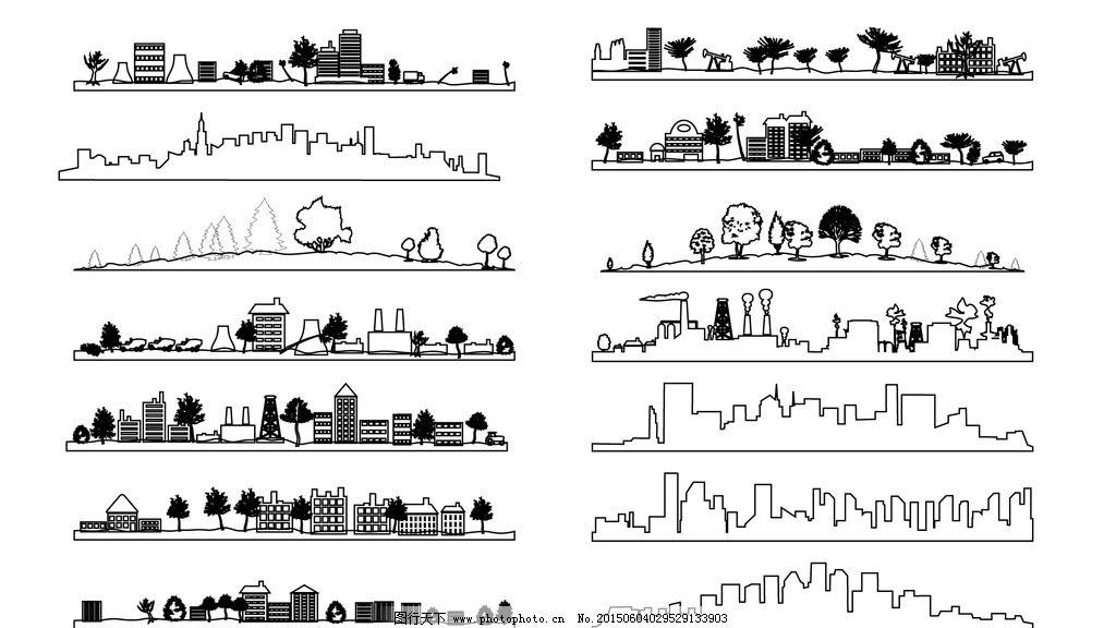大楼 剪影 背景 黑白 城市 夜景 设计 广告设计 广告设计 ai